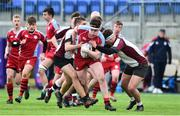 9 January 2019; Michael Barrett of Catholic University School in action against Iker King, left, and Tariq Van Beek of Gormanstown College during the Bank of Ireland Vinnie Murray Cup Round 1 match between Catholic University School and Gormanstown College at Energia Park in Dublin. Photo by Matt Browne/Sportsfile