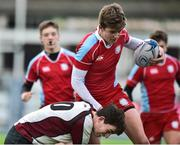 9 January 2019; David O'Halloran of Catholic University School is tackled by Daniel Morgan of Gormanstown College during the Bank of Ireland Vinnie Murray Cup Round 1 match between Catholic University School and Gormanstown College at Energia Park in Dublin. Photo by Matt Browne/Sportsfile