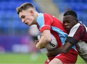 9 January 2019; Vinny Flynn of Catholic University School is tackled by Abdul Muheez of Gormanstown College during the Bank of Ireland Vinnie Murray Cup Round 1 match between Catholic University School and Gormanstown College at Energia Park in Dublin. Photo by Matt Browne/Sportsfile
