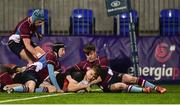9 January 2019; Adam Killeen of The High School scores a try against Salesian College during the Bank of Ireland Vinnie Murray Cup Round 1 match between The High School and Salesian College at Energia Park in Dublin. Photo by Matt Browne/Sportsfile