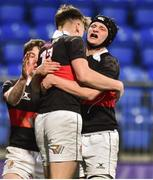 9 January 2019; Adam Killeen of The High School is congratulated by teammate Niall McDonnell after his try against Salesian College during the Bank of Ireland Vinnie Murray Cup Round 1 match between The High School and Salesian College at Energia Park in Dublin. Photo by Matt Browne/Sportsfile