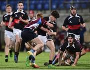 9 January 2019; Jake Hickey of The High School is tackled by David Lovely of Salesian College during the Bank of Ireland Vinnie Murray Cup Round 1 match between The High School and Salesian College at Energia Park in Dublin. Photo by Matt Browne/Sportsfile