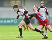 9 January 2019; Peter Corcoran of Gormanstown College is tackled by Vinny Flynn of Catholic University School during the Bank of Ireland Vinnie Murray Cup Round 1 match between Catholic University School and Gormanstown College at Energia Park in Dublin. Photo by Matt Browne/Sportsfile