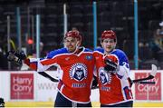 11 January 2019; Dmitry Potaichuk of Arlan Kokshetau, right, celebrates after scoring his side's third goal with team-mate Konstantin Savenkov during the IIHF Continental Cup Final match between GKS Katowice and Arlan Kokshetau at the SSE Arena in Belfast, Co Antrim. Photo by Eoin Smith/Sportsfile
