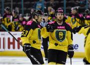 11 January 2019;  Niko Tuhkanen of GKS Katowice, left, celebrates after scoring his side's first goal, with team-mate Jesse Rohtla during the IIHF Continental Cup Final match between GKS Katowice and Arlan Kokshetau at the SSE Arena in Belfast, Co Antrim. Photo by Eoin Smith/Sportsfile