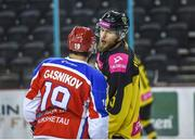 11 January 2019; Evgeny Gasnikov of Arlan Kokshetau exchanges words with Jacob Wanacki of GKS Katowice during the IIHF Continental Cup Final match between GKS Katowice and Arlan Kokshetau at the SSE Arena in Belfast, Co Antrim. Photo by Eoin Smith/Sportsfile
