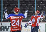11 January 2019; Denis Klemeshov of Arlan Kokshetau, left, celebrates after scoring his side's fourth goal, with team-mate Alexander Nestrov the IIHF Continental Cup Final match between GKS Katowice and Arlan Kokshetau at the SSE Arena in Belfast, Co Antrim. Photo by Eoin Smith/Sportsfile