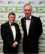 11 January 2019; FAI president Donal Conway, left, and CEO of the FAI John Delaney in attendance during the SSE Airtricity Soccer Writers' Association of Ireland Awards 2018 at the Conrad Hotel in Dublin. Photo by Stephen McCarthy/Sportsfile