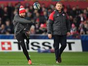 11 January 2019; Danny Cipriani of Gloucester, left, and head coach Johan Ackermann prior to the Heineken Champions Cup Pool 2 Round 5 match between Gloucester and Munster at Kingsholm Stadium in Gloucester, England. Photo by Seb Daly/Sportsfile