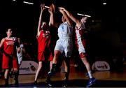 11 January 2019; Hansey Sexton of Glanmire in action against Aileen Leahy, left, and Sinead O'Mahony of Fr. Mathews during the Hula Hoops NICC Women's Cup Semi-Final match between Fr Mathews and Glanmire at Neptune Stadium in Cork. Photo by Eóin Noonan/Sportsfile