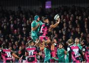 11 January 2019; Gerbrandt Grobler of Gloucester and Tadhg Beirne of Munster contest a line-out during the Heineken Champions Cup Pool 2 Round 5 match between Gloucester and Munster at Kingsholm Stadium in Gloucester, England. Photo by Seb Daly/Sportsfile