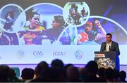 11 January 2019; Damian Lawlor, Author & Broadcaster, speaking during The GAA Games Development Conference, in partnership with Sky Sports, which took place in Croke Park on Friday and Saturday. A record attendance of over 800 delegates were present to see over 30 speakers from the world of Gaelic games, sport and education. Croke Park, Dublin. Photo by Piaras Ó Mídheach/Sportsfile