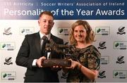 11 January 2019; Former Bohemians goalkeeper Shane Supple is presented with the Goalkeeper of the Year award by Leanne Sheill, Sponsorship Manager, SSE Airtricity, during the SSE Airtricity Soccer Writers' Association of Ireland Awards 2018 at the Conrad Hotel in Dublin. Photo by Stephen McCarthy/Sportsfile