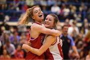 11 January 2019; Sarah Livesey, left, celebrates with team-mate Danielle Murphy O'Riordan of Fr. Mathews after the Hula Hoops NICC Women's Cup Semi-Final match between Fr Mathews and Glanmire at Neptune Stadium in Cork. Photo by Eóin Noonan/Sportsfile