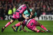 11 January 2019; Stephen Archer of Munster is tackled by Danny Cipriani, left, and Fraser Balmain of Gloucester during the Heineken Champions Cup Pool 2 Round 5 match between Gloucester and Munster at Kingsholm Stadium in Gloucester, England. Photo by Seb Daly/Sportsfile