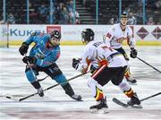 11 January 2019; Lewis Hook of Belfast Giants in action against Egor Ivanov of HK Gomel during the IIHF Continental Cup Final match between Stena Line Belfast Giants and HK Gomel at the SSE Arena in Belfast, Co Antrim. Photo by Eoin Smith/Sportsfile
