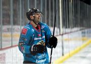 11 January 2019; Patrick Dwyer of Belfast Giants celebrates after scoring his side's second goal during the IIHF Continental Cup Final match between Stena Line Belfast Giants and HK Gomel at the SSE Arena in Belfast, Co Antrim. Photo by Eoin Smith/Sportsfile