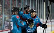11 January 2019; Patrick Dwyer of Belfast Giants, left, is congratulated by team-mates Chris Higgins, right, and Curtis Leonard after scoring his side's second goal during the IIHF Continental Cup Final match between Stena Line Belfast Giants and HK Gomel at the SSE Arena in Belfast, Co Antrim. Photo by Eoin Smith/Sportsfile