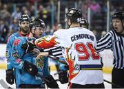 11 January 2019; Darcy Murphy of Belfast Giants tussles with Alexander Symochkin of HK Gomel during the IIHF Continental Cup Final match between Stena Line Belfast Giants and HK Gomel at the SSE Arena in Belfast, Co Antrim. Photo by Eoin Smith/Sportsfile