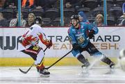 11 January 2019; Kyle Baun of Belfast Giants in action against Maxim Magaletsky of HK Gomel during the IIHF Continental Cup Final match between Stena Line Belfast Giants and HK Gomel at the SSE Arena in Belfast, Co Antrim. Photo by Eoin Smith/Sportsfile