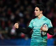 11 January 2019; Joey Carbery of Munster celebrates after scoring his side's fifth try during the Heineken Champions Cup Pool 2 Round 5 match between Gloucester and Munster at Kingsholm Stadium in Gloucester, England. Photo by Seb Daly/Sportsfile