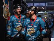 11 January 2019; Lewis Hook, left, and Jonathan Boxill of Belfast Giants celebrate following the IIHF Continental Cup Final match between Stena Line Belfast Giants and HK Gomel at the SSE Arena in Belfast, Co Antrim. Photo by Eoin Smith/Sportsfile