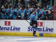 11 January 2019; Colin Shields of Belfast Giants in celebrates after scoring his side's fourth goal with Belfast Giants equipment manager Jason Ellery on the bench during the IIHF Continental Cup Final match between Stena Line Belfast Giants and HK Gomel at the SSE Arena in Belfast, Co Antrim. Photo by Eoin Smith/Sportsfile