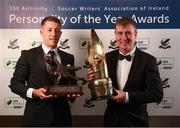 11 January 2019; Former Bohemians goalkeeper Shane Supple, left, with the Goalkeeper of the Year award and former Dundalk manager and current Republic of Ireland U21 manager Stephen Kenny with the Personality of the Year award during the SSE Airtricity Soccer Writers' Association of Ireland Awards 2018 at the Conrad Hotel in Dublin. Photo by Stephen McCarthy/Sportsfile