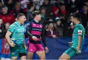 11 January 2019; Andrew Conway of Munster, left, celebrates after scoring his side's fourth try with team-mate Conor Murray during the Heineken Champions Cup Pool 2 Round 5 match between Gloucester and Munster at Kingsholm Stadium in Gloucester, England. Photo by Seb Daly/Sportsfile