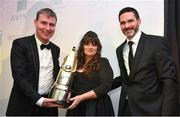 11 January 2019; Former Dundalk manager and current Republic of Ireland U21 manager Stephen Kenny is presented with the Personality of the Year award by Ursula McCaffrey and David Manning, Director of Home Energy, SSE Airtricity, during the SSE Airtricity Soccer Writers' Association of Ireland Awards 2018 at the Conrad Hotel in Dublin. Photo by Stephen McCarthy/Sportsfile