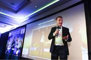 11 January 2019; Former Dundalk manager and current Republic of Ireland U21 manager Stephen Kenny, who received the Personality of the Year award, speaking  during the SSE Airtricity Soccer Writers' Association of Ireland Awards 2018 at the Conrad Hotel in Dublin. Photo by Stephen McCarthy/Sportsfile