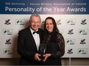 11 January 2019; Former Republic of Ireland international Áine O'Gorman with her Special Achievement award and Tony O'Donoghue during the SSE Airtricity Soccer Writers' Association of Ireland Awards 2018 at the Conrad Hotel in Dublin. Photo by Stephen McCarthy/Sportsfile