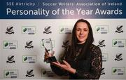 11 January 2019; Former Republic of Ireland international Áine O'Gorman with her Special Achievement award during the SSE Airtricity Soccer Writers' Association of Ireland Awards 2018 at the Conrad Hotel in Dublin. Photo by Stephen McCarthy/Sportsfile