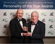 11 January 2019; Drogheda United's Vincent Hoey is presented with the Liam Tuohy Special Merit Award by SWAI President Philip Quinn during the SSE Airtricity Soccer Writers' Association of Ireland Awards 2018 at the Conrad Hotel in Dublin. Photo by Stephen McCarthy/Sportsfile