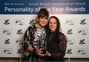 11 January 2019; Former Republic of Ireland international Áine O'Gorman is presented with her Special Achievement award by Victoria Groom, Head of Marketing, SSE Airtricity, during the SSE Airtricity Soccer Writers' Association of Ireland Awards 2018 at the Conrad Hotel in Dublin. Photo by Stephen McCarthy/Sportsfile