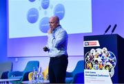 12 January 2019; Derek McGrath, Former Manager, Waterford Senior Hurling Team, speaking about Combining the 'Me' and the 'We' and Optimising Wellbeing at The GAA Games Development Conference, in partnership with Sky Sports, which took place in Croke Park on Friday and Saturday. A record attendance of over 800 delegates were present to see over 30 speakers from the world of Gaelic games, sport and education. Croke Park, Dublin. Photo by Piaras Ó Mídheach/Sportsfile