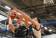 12 January 2019; Sean Condon of Portlaoise Panthers is blocked by Rian Caverly of Dublin Lions during the Hula Hoops Under 20 Men's National Cup semi-final match between Portlaoise Panthers and Dublin Lions at the Mardyke Arena UCC in Cork.  Photo by Brendan Moran/Sportsfile