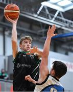 12 January 2019; James Gormley of Portlaoise Panthers in action against Finn Hughes of Dublin Lions during the Hula Hoops Under 20 Men's National Cup semi-final match between Portlaoise Panthers and Dublin Lions at the Mardyke Arena UCC in Cork.  Photo by Brendan Moran/Sportsfile