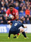 12 January 2019; Joe Tekori of Toulouse is tackled by Luke McGrath of Leinster during the Heineken Champions Cup Pool 1 Round 5 match between Leinster and Toulouse at the RDS Arena in Dublin. Photo by Stephen McCarthy/Sportsfile