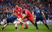 12 January 2019; Charlie Faumuina of Toulouse in action against Jack Conan, left, and Ross Byrne of Leinster during the Heineken Champions Cup Pool 1 Round 5 match between Leinster and Toulouse at the RDS Arena in Dublin. Photo by Stephen McCarthy/Sportsfile