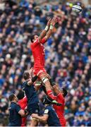 12 January 2019; Richie Arnold of Toulouse wins possession in the lineout during the Heineken Champions Cup Pool 1 Round 5 match between Leinster and Toulouse at the RDS Arena in Dublin. Photo by Stephen McCarthy/Sportsfile