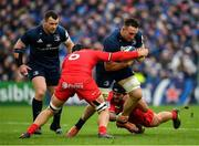 12 January 2019; Jack Conan of Leinster is tackled by Francois Cros, left, and Rynhardt Elstadt of Toulouse during the Heineken Champions Cup Pool 1 Round 5 match between Leinster and Toulouse at the RDS Arena in Dublin. Photo by Seb Daly/Sportsfile