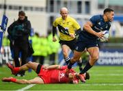 12 January 2019; Adam Byrne of Leinster evades the tackle of Sofiane Guitoune of Toulouse during the Heineken Champions Cup Pool 1 Round 5 match between Leinster and Toulouse at the RDS Arena in Dublin. Photo by Seb Daly/Sportsfile