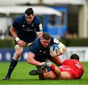 12 January 2019; Tadhg Furlong of Leinster is tackled by Julien Marchand of Toulouse during the Heineken Champions Cup Pool 1 Round 5 match between Leinster and Toulouse at the RDS Arena in Dublin. Photo by Ramsey Cardy/Sportsfile