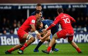12 January 2019; Garry Ringrose of Leinster is tackled by Richie Arnold, left, and Thomas Ramos of Toulouse during the Heineken Champions Cup Pool 1 Round 5 match between Leinster and Toulouse at the RDS Arena in Dublin. Photo by Ramsey Cardy/Sportsfile