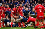 12 January 2019; Jack Conan of Leinster dives over to score his side's first try during the Heineken Champions Cup Pool 1 Round 5 match between Leinster and Toulouse at the RDS Arena in Dublin. Photo by Ramsey Cardy/Sportsfile