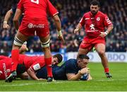 12 January 2019; Jack Conan of Leinster dives over to score his side's first try during the Heineken Champions Cup Pool 1 Round 5 match between Leinster and Toulouse at the RDS Arena in Dublin. Photo by Seb Daly/Sportsfile