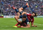 12 January 2019; Adam Byrne of Leinster is tackled by Yoann Huget of Toulouse during the Heineken Champions Cup Pool 1 Round 5 match between Leinster and Toulouse at the RDS Arena in Dublin. Photo by Seb Daly/Sportsfile