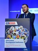 12 January 2019; Dr Stephen Kenneally, International Policy Administrator, Department of Culture, Heritage and the Gaeltacht, speaking about Hurling and UNESCO Intangible Cultural Heritage recognition at The GAA Games Development Conference, in partnership with Sky Sports, which took place in Croke Park on Friday and Saturday. A record attendance of over 800 delegates were present to see over 30 speakers from the world of Gaelic games, sport and education. Croke Park, Dublin. Photo by Piaras Ó Mídheach/Sportsfile