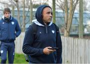12 January 2019; Simon Zebo of Racing 92 arrives for the Heineken Champions Cup Pool 4 Round 5 match between Ulster and Racing 92 at the Kingspan Stadium in Belfast, Co. Antrim. Photo by Oliver McVeigh/Sportsfile